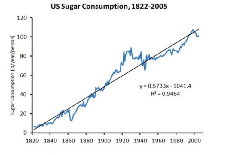 US Sugar Consumption, 1822-2005